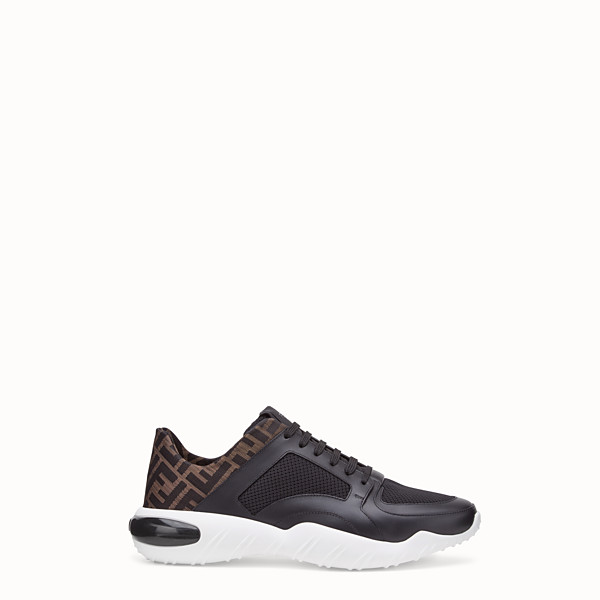 FENDI SNEAKERS - Black tech mesh and leather low-tops - view 1 small thumbnail