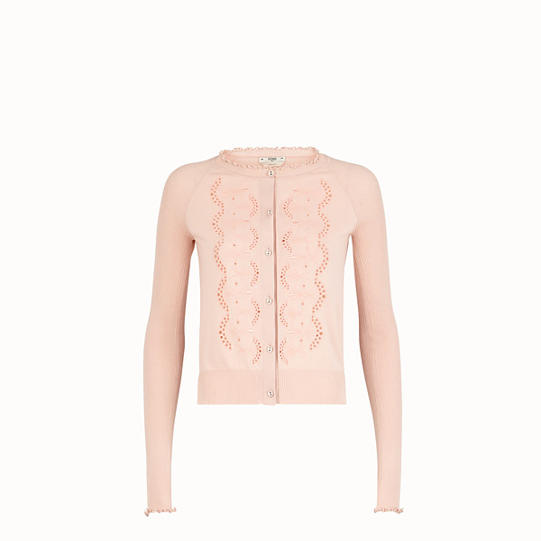 FENDI CARDIGAN - Pink cotton cardigan - view 1 small thumbnail