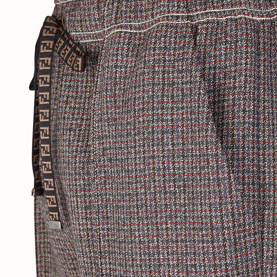 FENDI TROUSERS - Micro-check wool jogging trousers - view 3 detail
