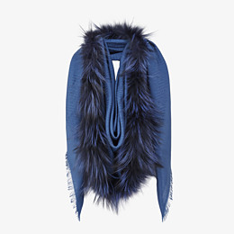 FENDI TOUCH OF FUR SHAWL - Blue silk and wool shawl - view 2 thumbnail