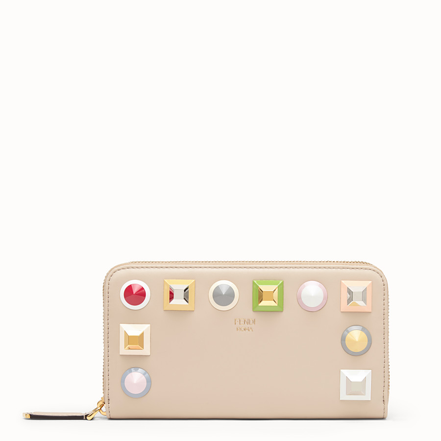 FENDI ZIP-AROUND - Beige leather wallet - view 1 detail