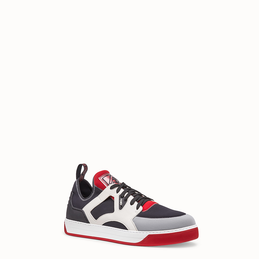 FENDI SNEAKERS - Multicolor leather and fabric low-tops - view 2 detail