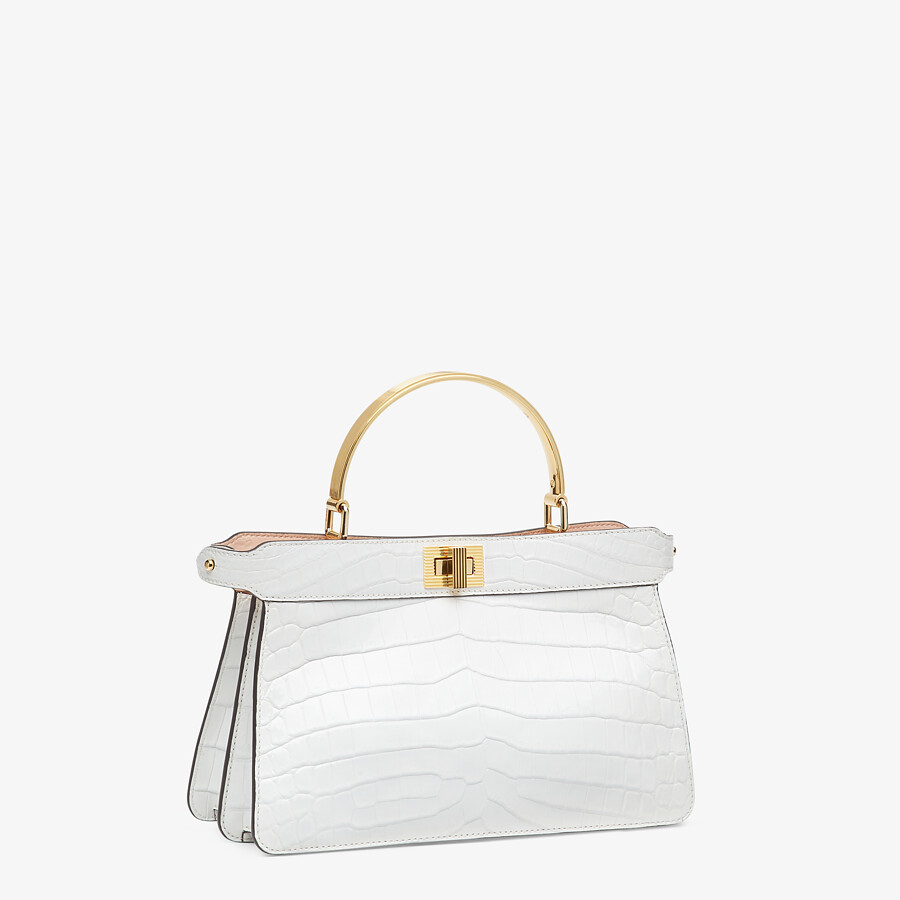 FENDI PEEKABOO ISEEU EAST-WEST - White crocodile leather bag - view 3 detail