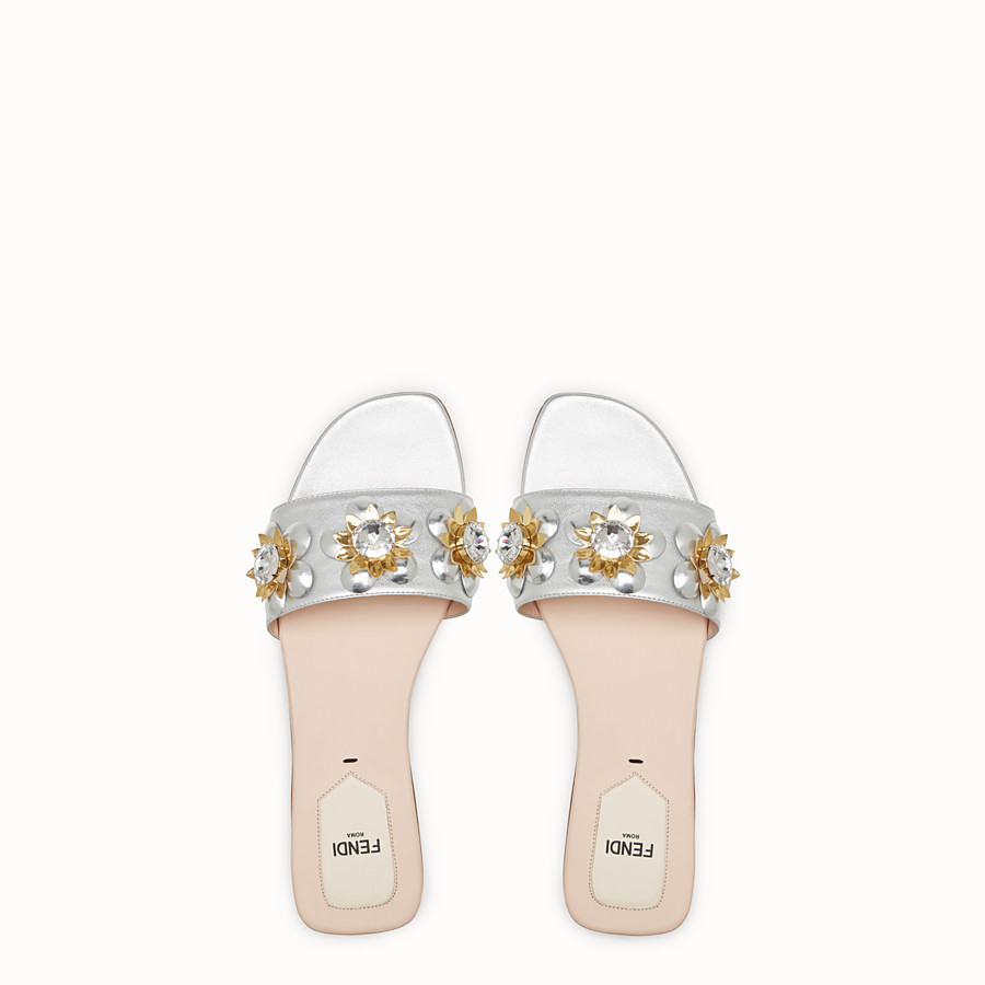 FENDI FLAT SANDALS - in silver leather and flowers - view 4 detail