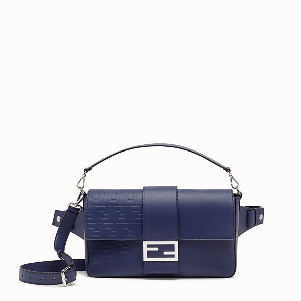 FENDI BAGUETTE LARGE - Blue calf leather bag - view 1 small thumbnail