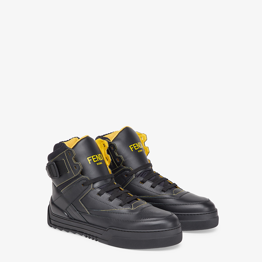 FENDI SNEAKERS - Black leather high-tops - view 4 detail
