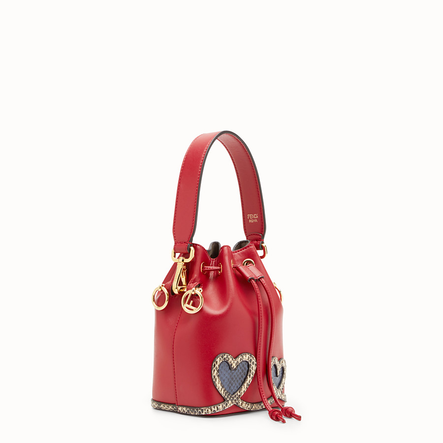 FENDI MON TRESOR - Red leather mini-bag with exotic details - view 2 detail