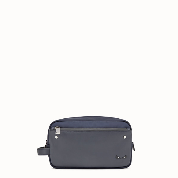 FENDI TOILETRY CASE - Blue nylon and leather case - view 1 small thumbnail