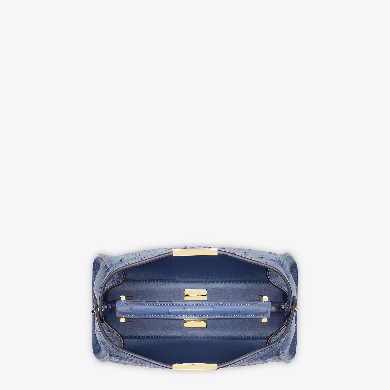 FENDI PEEKABOO ICONIC ESSENTIALLY - Blue ostrich leather bag - view 4 detail