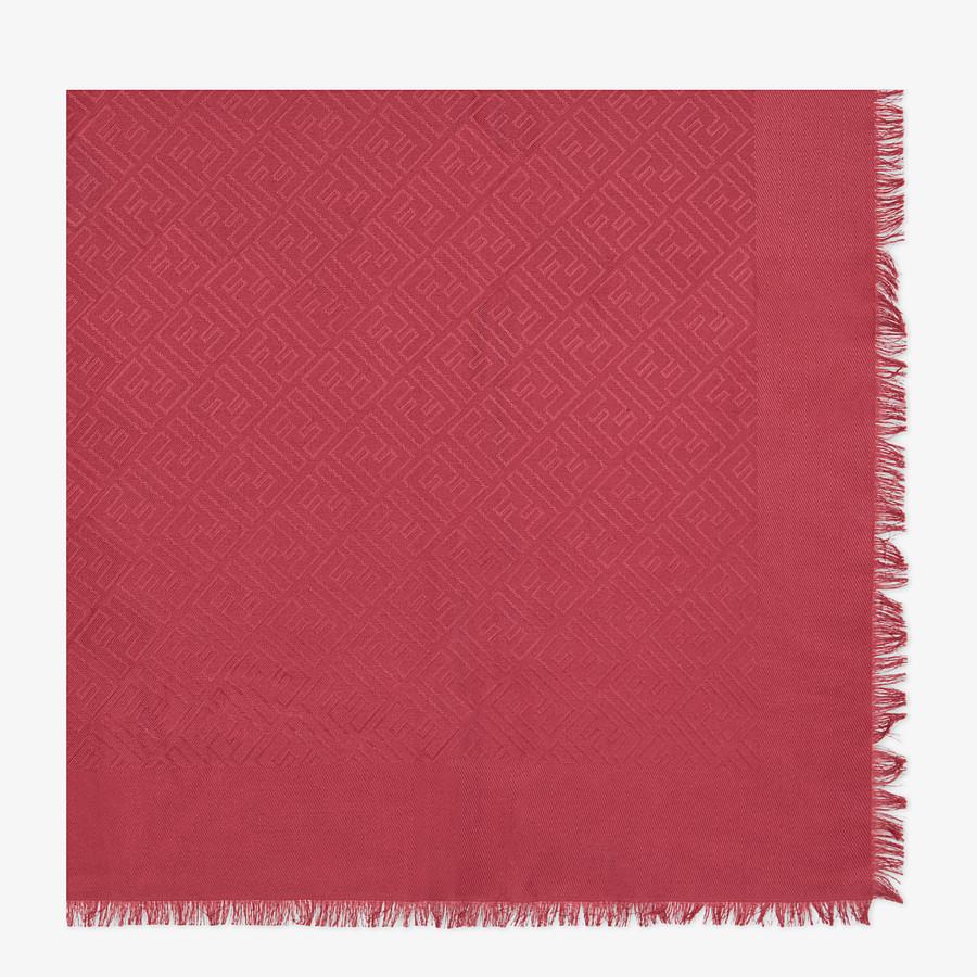 FENDI SCIALLE FF - Scialle in seta e lana rosso - vista 1 dettaglio