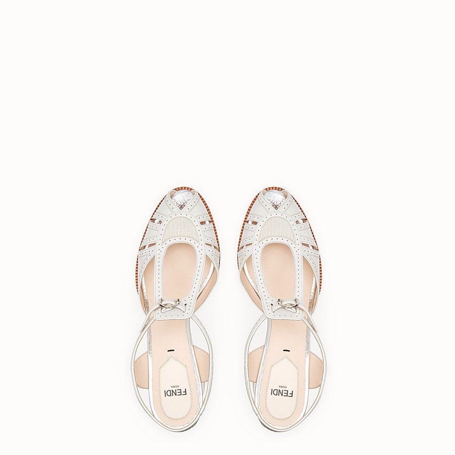 FENDI SANDALS - Grey leather sandals - view 4 detail