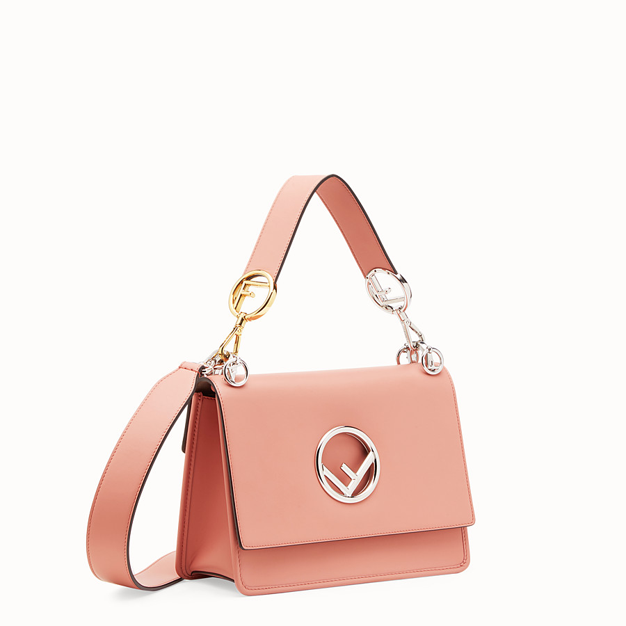FENDI KAN I LOGO - Pink leather bag - view 2 detail