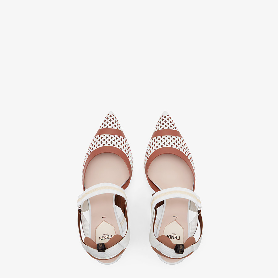 FENDI SLINGBACKS - Colibrì in white leather - view 4 detail