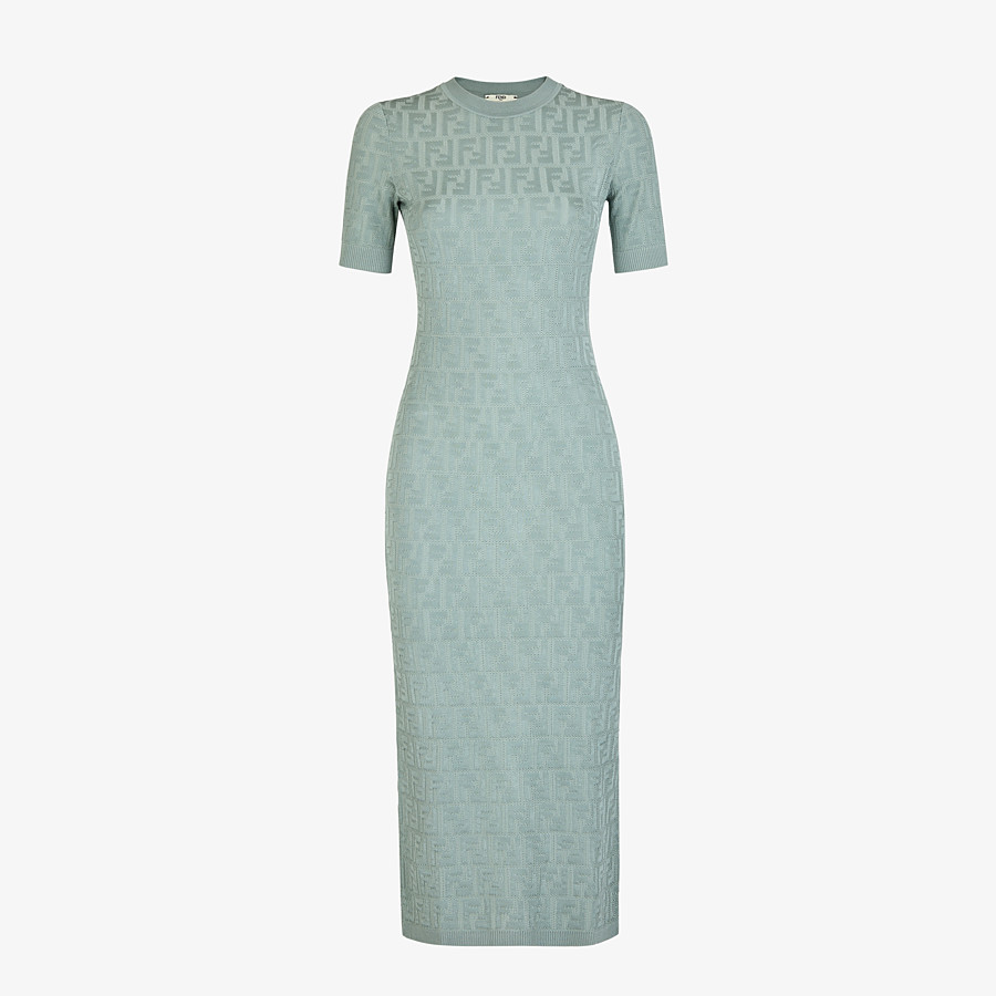FENDI DRESS - Light blue viscose and cotton dress - view 1 detail