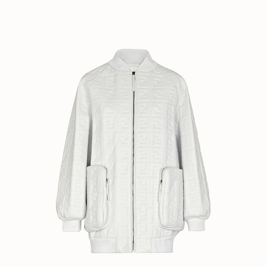 FENDI BOMBER - White nappa leather bomber - view 1 detail