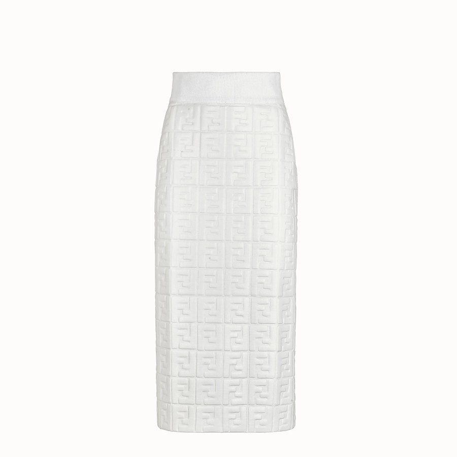FENDI SKIRT - White nappa leather skirt - view 1 detail