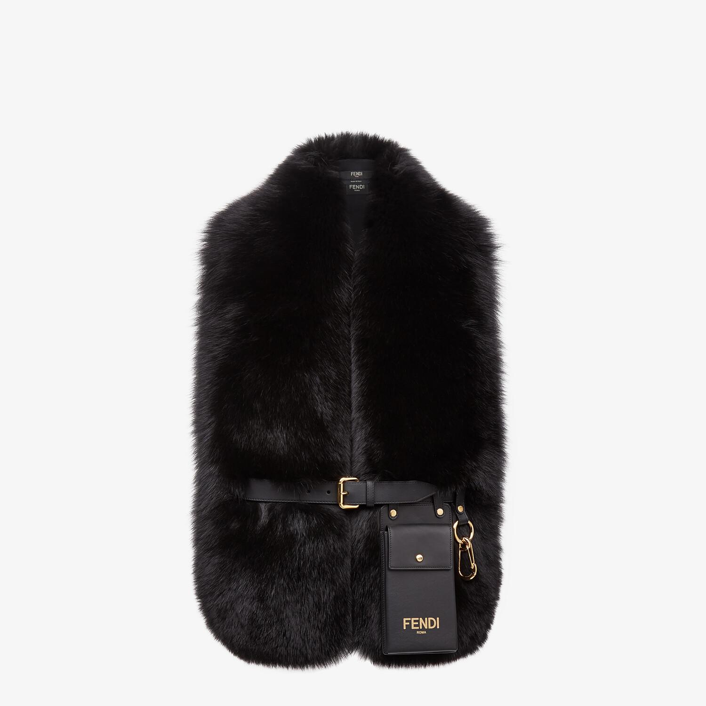 FENDI MAXI STOLE - Black fox fur stole - view 1 detail