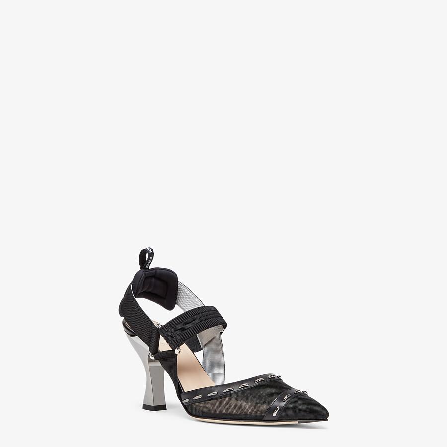 FENDI COLIBRÌ - Black mesh, high-heel slingbacks with metal stitches - view 2 detail