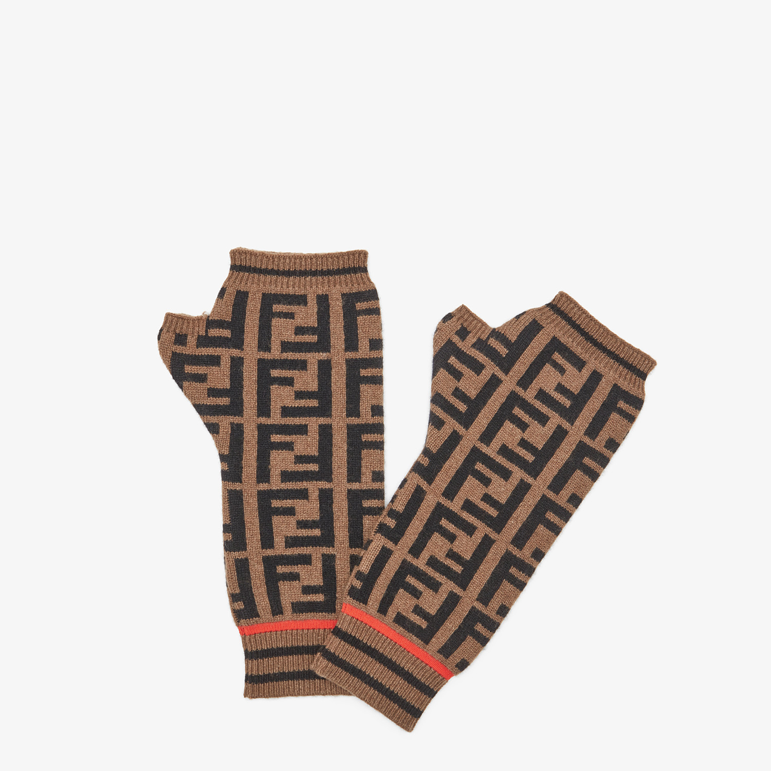 FENDI GLOVES - Sleeves in wool and brown cashmere - view 1 detail