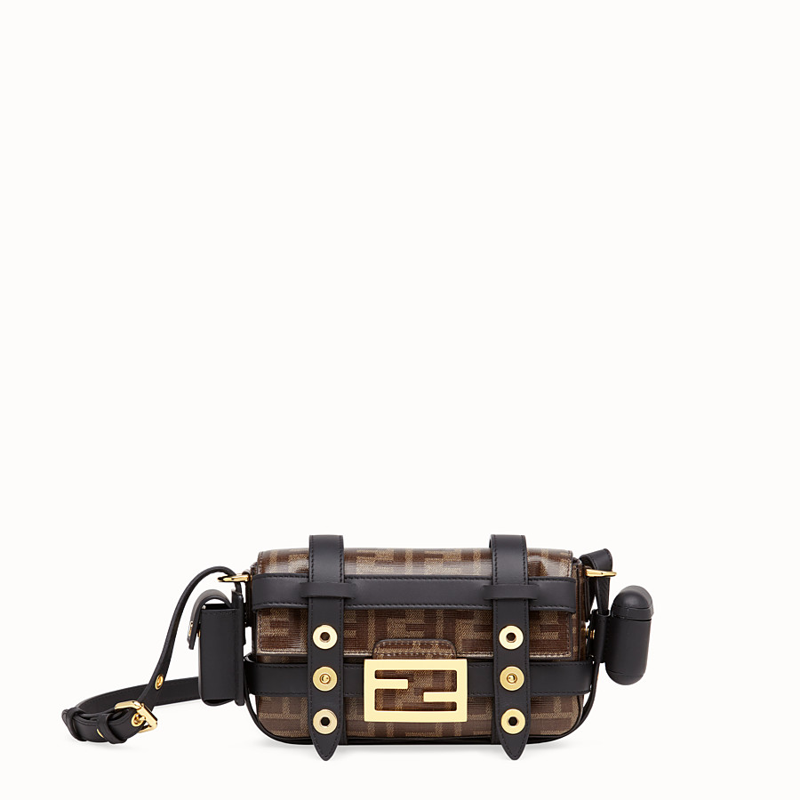 FENDI MINI BAGUETTE WITH CAGE - Multicolor leather and fabric bag - view 1 detail
