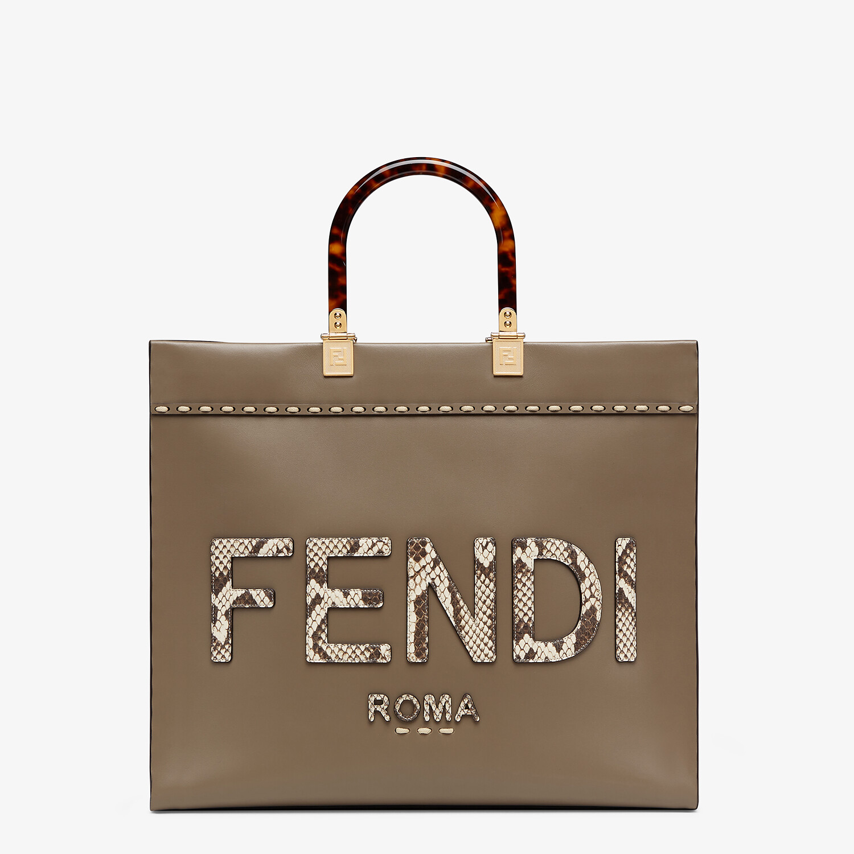FENDI FENDI SUNSHINE MEDIUM - Shopper aus Leder in Grau und Elaphe - view 1 detail
