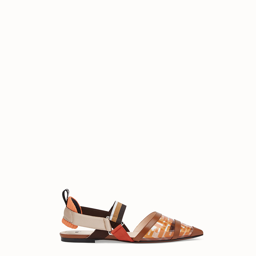FENDI SABOTS - Flats in PU and orange leather - view 1 detail
