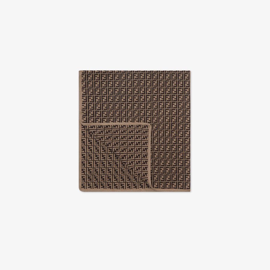FENDI BABY BLANKET - Cotton and cashmere knit blanket with FF logo - view 2 detail
