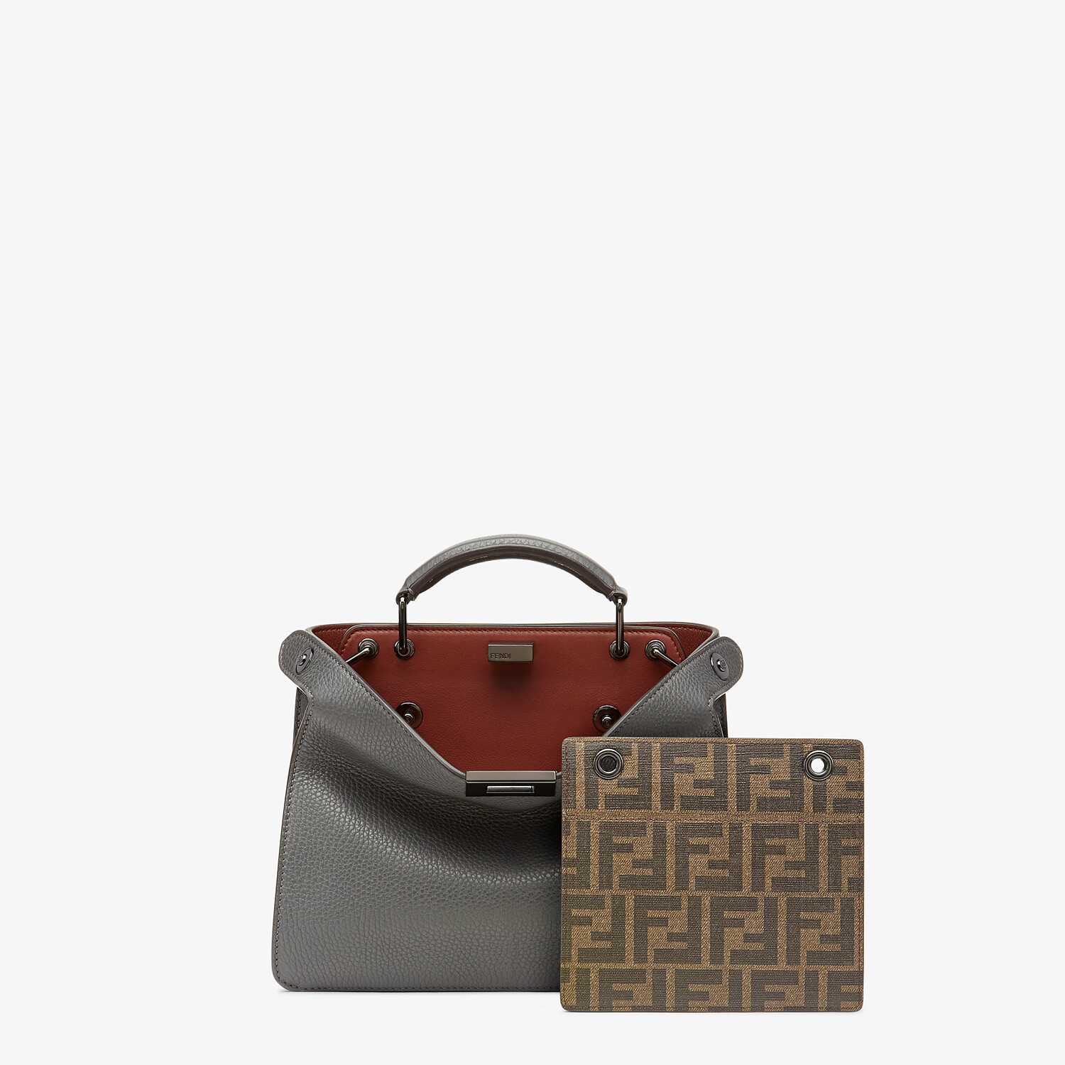 FENDI PEEKABOO ISEEU MINI - Gray leather bag - view 2 detail