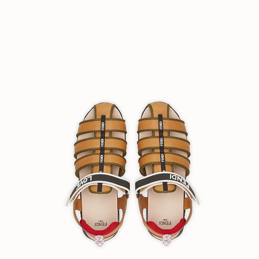 FENDI SANDALS - Brown leather sandals - view 4 detail