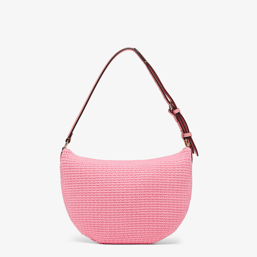 FENDI SMALL CROISSANT - Pink cotton bag - view 3 detail