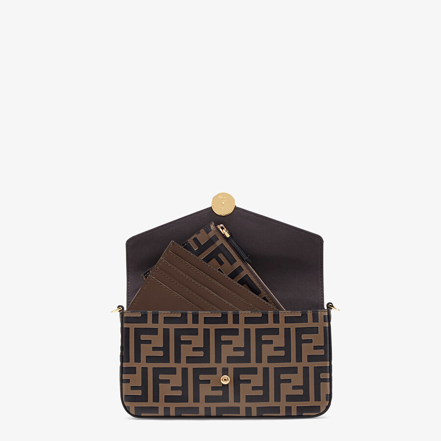 FENDI WALLET ON CHAIN WITH POUCHES - Brown leather mini-bag - view 6 detail