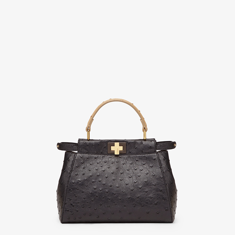 FENDI PEEKABOO ICONIC MINI - Black ostrich leather bag - view 1 detail