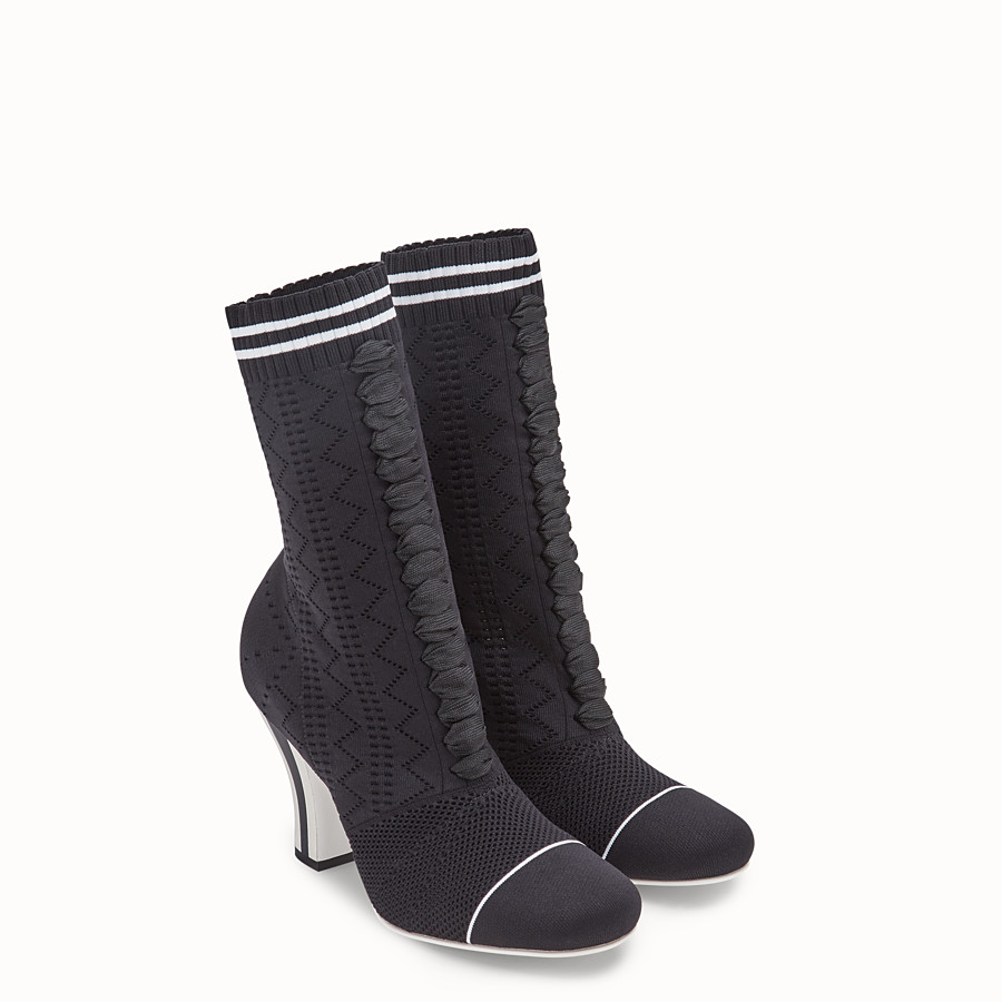 FENDI BOOTS - Black fabric ankle boots - view 4 detail