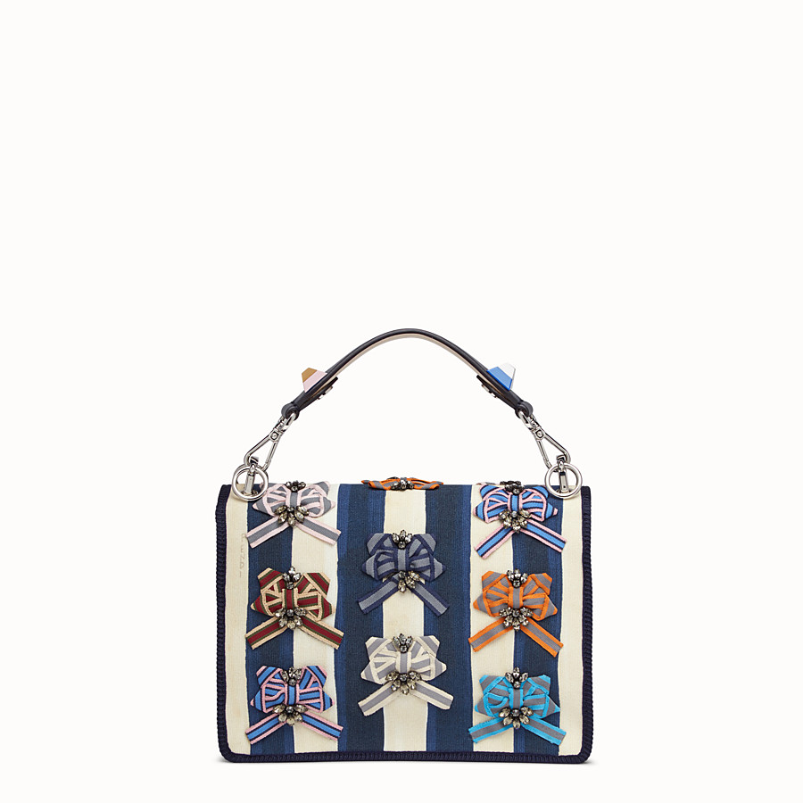 FENDI KAN I - Bag in striped fabric and bows - view 3 detail