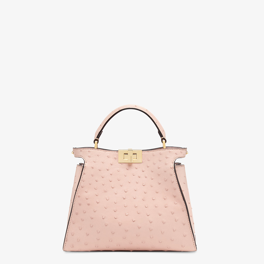 FENDI PEEKABOO ICONIC ESSENTIALLY - Pink ostrich leather bag - view 1 detail