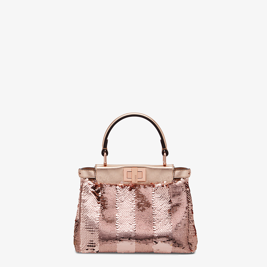 FENDI PEEKABOO ICONIC XS - Pink leather mini-bag - view 1 detail