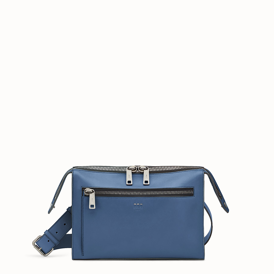 FENDI DOCUMENT HOLDER - Smooth blue leather bag - view 1 detail