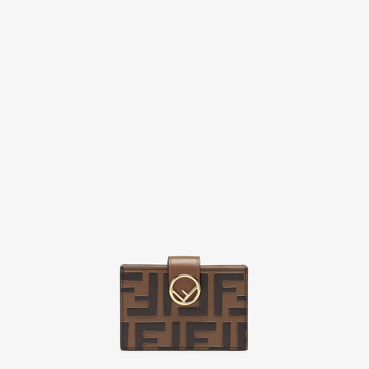 FENDI CARD HOLDER - Brown leather gusseted card holder - view 1 detail