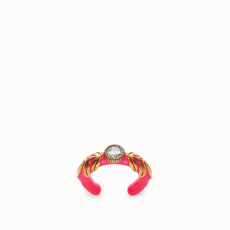 FENDI JULIUS CAESAR RING - Fuchsia and gold-coloured ring - view 1 detail