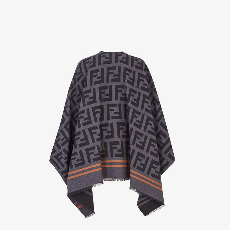 FENDI FF PONCHO - Poncho in black wool and silk - view 2 detail