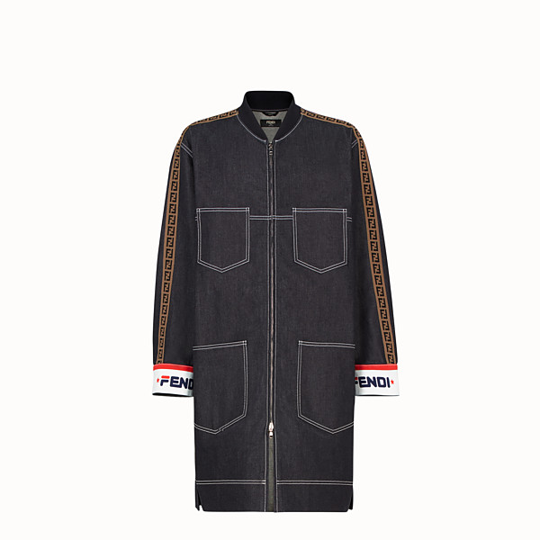 FENDI PARKA - Blue denim jacket - view 1 small thumbnail