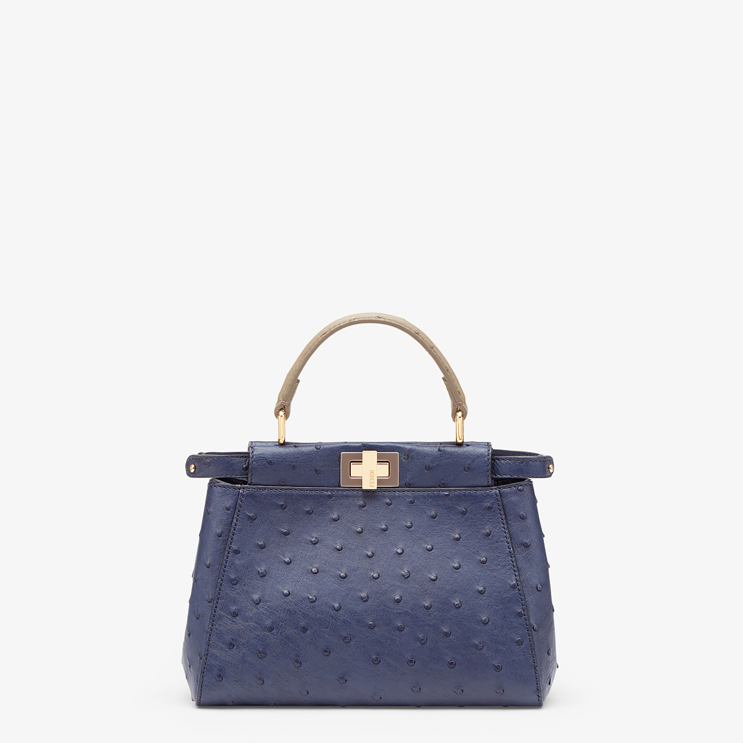 FENDI PEEKABOO ICONIC MINI - Blue ostrich bag - view 1 detail