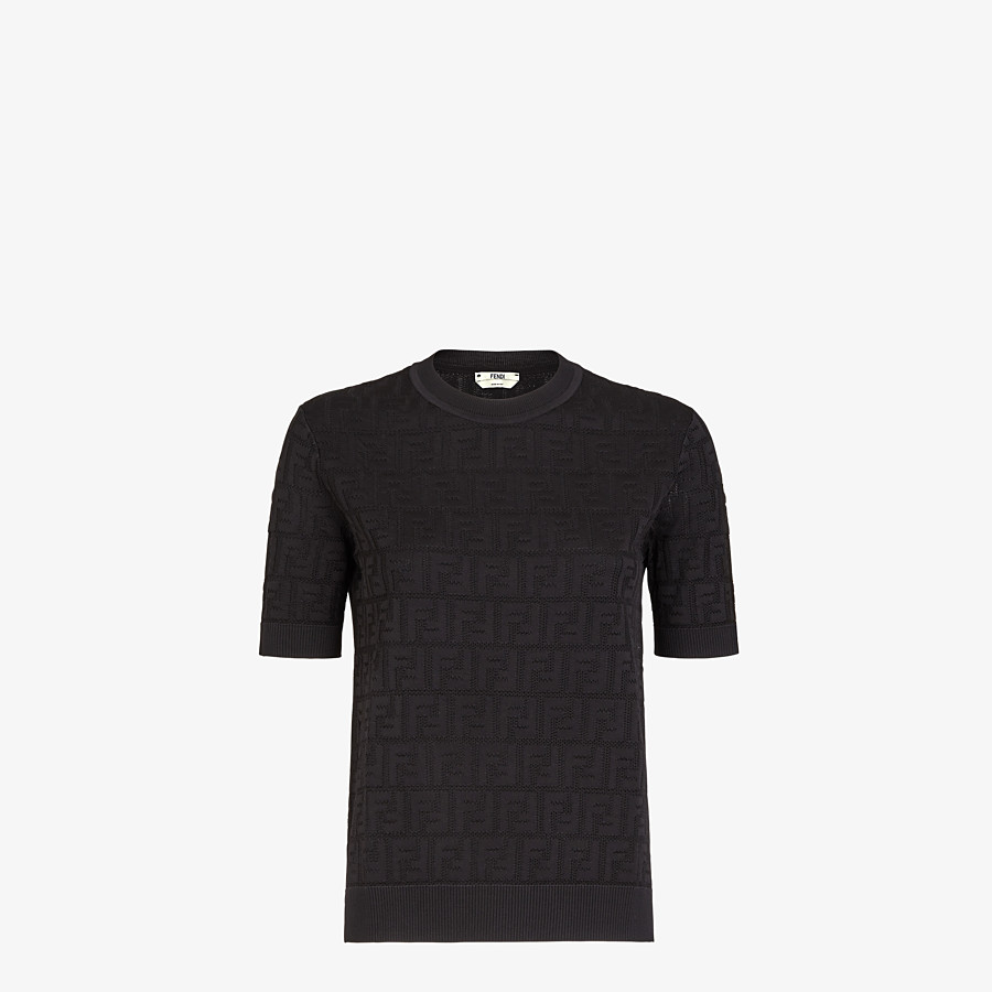 FENDI SWEATER - Black cotton and viscose sweater - view 1 detail