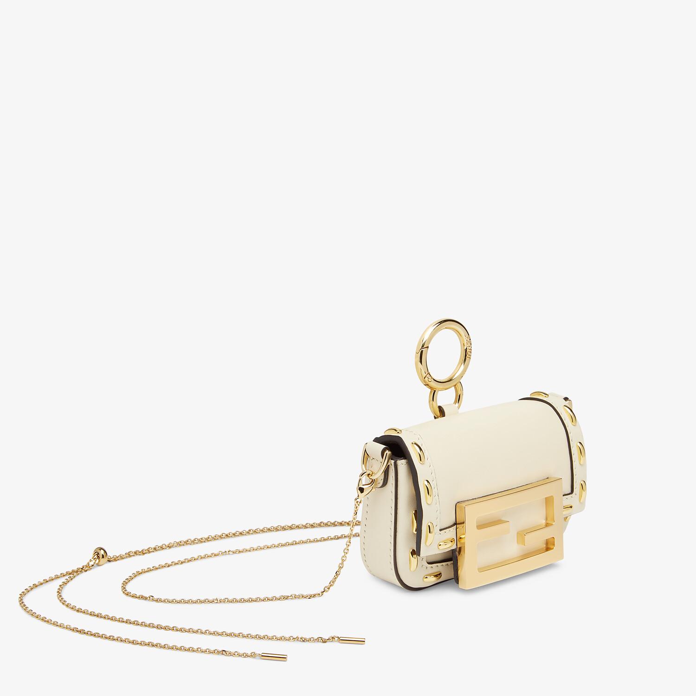 FENDI NANO BAGUETTE CHARM - White nappa leather charm - view 2 detail