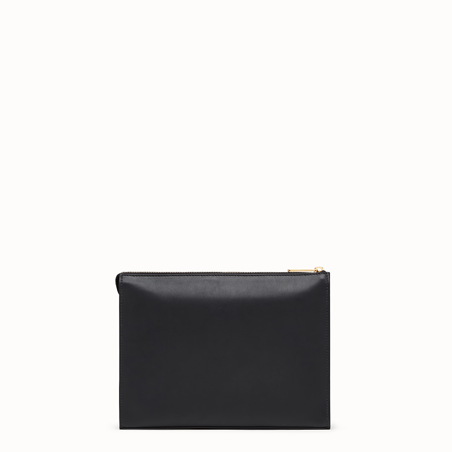 FENDI CLUTCH - Black leather pochette - view 3 detail