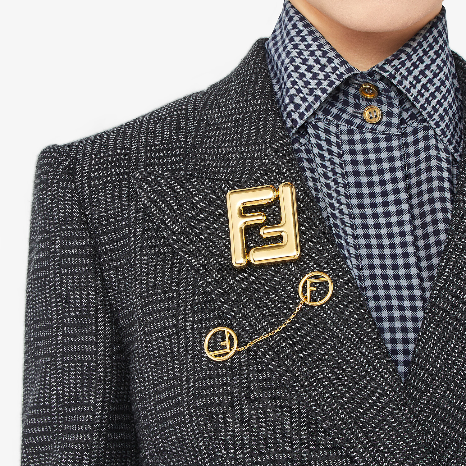 FENDI MAXI LOGO BROOCH - Gold-colored brooch - view 3 detail