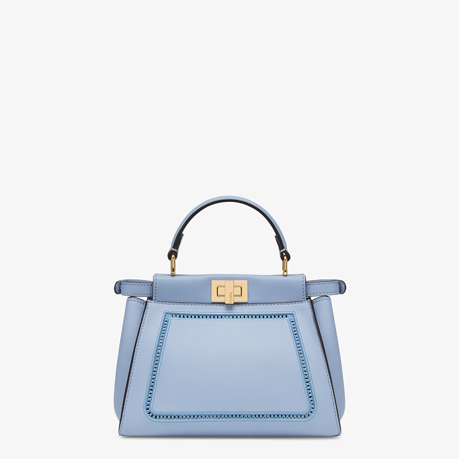 FENDI PEEKABOO ICONIC MINI - Light blue leather bag with embroidery - view 4 detail