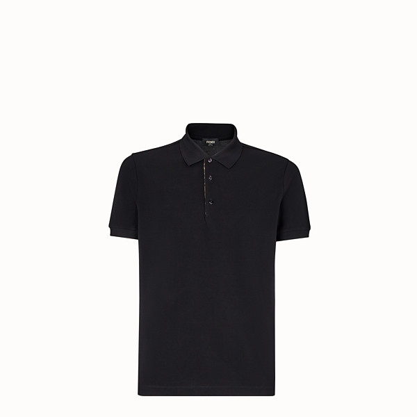 FENDI POLO SHIRT - Black piqué polo shirt - view 1 small thumbnail