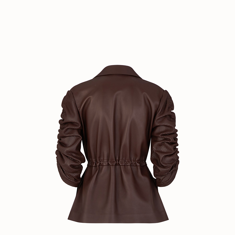FENDI JACKET - Brown nappa leather jacket - view 2 detail