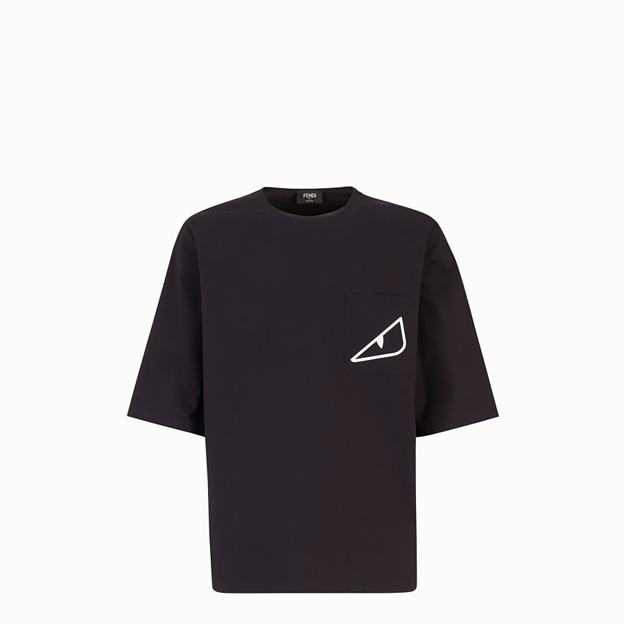 FENDI T-SHIRT - Black cotton shirt - view 1 detail